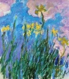 View Iris jaunes by Claude Monet on artnet. Browse upcoming and past auction lots by Claude Monet. Renoir, Art Montessori, Artist Monet, Iris Painting, Monet Paintings, Mary Cassatt, Impressionist Paintings, Beautiful Paintings, Manet