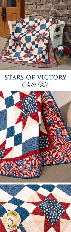 "Stars of Victory Quilt Add a stunning americana touch to your home with this striking quilt, or better yet create a beautiful tribute to honor a service member with this wonderful, patriotic keepsake. This Shabby Exclusive quilt is made using simple piecing, and features a beautiful American flag border. Finished size measures approximately 59½"" x 71½"" and meets the Standards of Excellence for the Quilts of Valor Foundation® to be an official Quilt of Valor®."