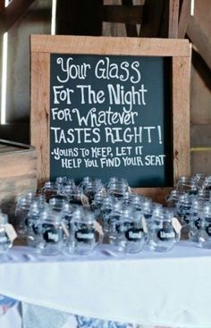 Wedding reception - glass, placeholder and find your seat - the triple threat!  #WeddingReception #styling