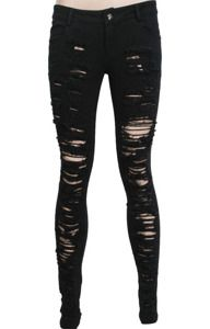 Skinny trousers K-134 PUNK RAVE, black, frayed skinny jeans, gothic