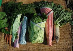 Screenprinted newspaper for wrapping veggies. Dentsu.