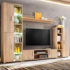 White entertainment wall unit high gloss living room set with led lights oak and tv units Tv Cabinet Design, Tv Wall Design, Armoires Murales Tv, Tv Wanddekor, Tv Wall Cabinets, Tv Unit Furniture, White Furniture, Bedroom Furniture, Furniture Ideas