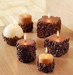 Velas con decorado de semilla de café