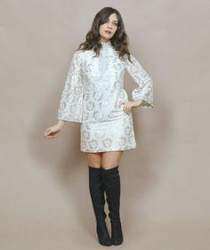 Cream Lace Mini Dress 60s Mod Tunic Micro Mini Silver Metallic