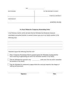 Before a court case, petitioners can use this ex parte request to get a temporary restraining order against a defendant. Free to download and print
