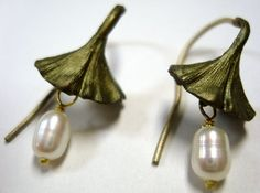 Gingko Wire Earrings with Pearl by Michael Michaud for Silver Seasons 4204BZWP | eBay