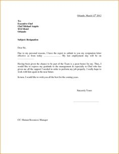 Resignation Letter Format With Reason Describing The Reason Of