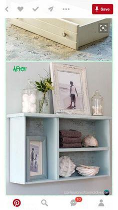 DIY Dresser drawer Bathroom Shelf Instruction - Practical Ways to Recycle Old Dr., DIY Dresser drawer Bathroom Shelf Instruction - Practical Ways to Recycle Old Dr. Refurbished Furniture, Repurposed Furniture, Furniture Makeover, Vintage Furniture, Diy Furniture Repurpose, Dresser Repurposed, Classic Furniture, Diy Dresser Makeover, Repurposed Items