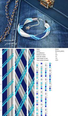 Bead crochet pattern seed bead bracelet pdf Denim beading master Class jewelry make necklace crochet Rope Jeans bracelet Bead Embroidery Patterns, Bead Crochet Patterns, Bead Crochet Rope, Seed Bead Patterns, Beading Patterns, Beaded Crochet, Beaded Embroidery, Crochet Necklace Pattern, Crochet Beaded Bracelets