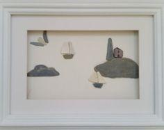 Pebble Art Pictures Tall Ship leaving Harbour por CornishPebbleArt