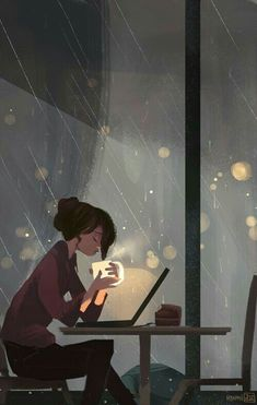 Another piece by Pascal Campion, I'm assuming. Art And Illustration, Coffee Illustration, Pascal Campion, Wow Art, Rainy Days, Rainy Weather, Rainy Night, Stormy Night, Amazing Art