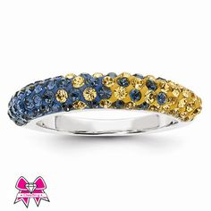 CheerBling Blue & Gold Team Color Sterling Silver Swarovski Thin Ring