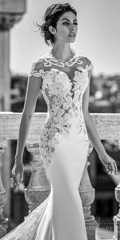 Maison Signore 2017 bridal cap sleeves round split plunging neckline heavily embellished bodice sexy sheath wedding dress chapel train (rahima) zv -- Maison Signore Exquisite Made in Italy Wedding Dresses #maisonsignore #wedding #bridal #weddingdress #weddinggown #couture #lace #laceweddingdress
