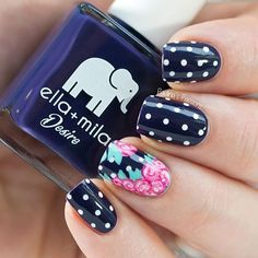 Navy Blue and Pink Floral Nails With Polka Dots