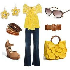Yellow Spring Casual, created by ggdesigns on Polyvore