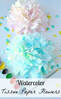 Watercolor Tissue Paper Flowers