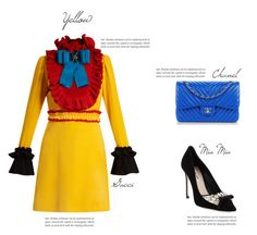 """Yellow street style"" by beautymanifesting ❤ liked on Polyvore featuring Gucci, Miu Miu and Chanel"