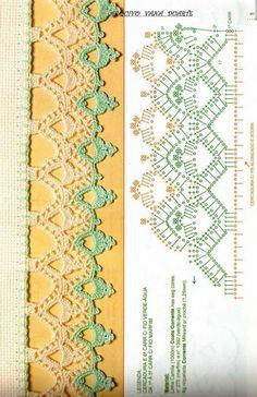 Crochet - Lace Edgings Border Trim - ✂ Crochet - Edgings with Charts Crochet Boarders, Crochet Edging Patterns, Crochet Lace Edging, Crochet Hook Set, Crochet Motifs, Crochet Chart, Lace Patterns, Crochet Designs, Crochet Doilies