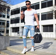 2018 New Men Ripped holes jeans Zip skinny biker jeans blue jeans with Pleated patchwork slim fit hip hop jeans men pants Skinny Biker Jeans, Ripped Jeans Men, Denim Jeans, Skinny Men, Mens Destroyed Jeans, Harem Jeans, Mode Streetwear, Streetwear Fashion, Plus Size Mens Jeans