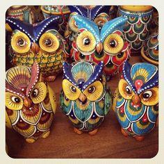 Gufi e gufetti  #sberna #art #pottery #ceramics #deruta #madeinitaly #love #handmade #handpainted #handcraft #yellow #colours #owl