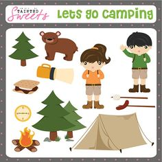 Lets Go Camping Clip Art Set by danger0usangel03 on Etsy, $5.00 #camping #clipart #printable #taintedsweets