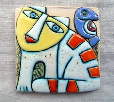 Handmade ceramic art tile Size: 10,6/10,6 cm Size: 4/4 inches ***All packages are sent via Bulgarian Posts with priority and with tracking number. Please note, I cannot take responsibility for the postal service. At busy times, items may take longer, so please allow extra time