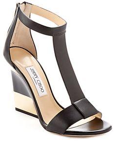 "Jimmy Choo ""Maxy"" Leather T-Strap Wedge Sandal"