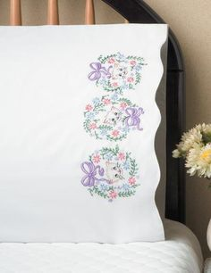 Set of 2 poly/cotton Standard Size Pillowcases, Stamped for Embroidery. Stamped for embroidery on Baby Embroidery, Embroidery Patterns, Personalized Pillow Cases, Embroidered Pillowcases, Needlework, Stamp, Pillows, Retro, Floral