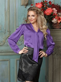Silky and shiny Real Leather Skirt, Leather Skirts, Hot Pants, Her Style, Work Wear, Ruffles, Ruffle Blouse, How To Wear, Dresses