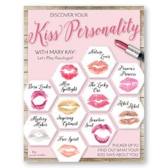 Discover your Kiss Personality with Mary Kay!! A fun set of documents to hold a Kiss Personality party! Find them only on www.thepinkbubble.co!!