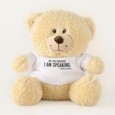 Kamala Harris, Mr Vice President I am Speaking Teddy Bear floral bodysuit outfit #leggingsenam
