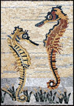 Mosaiques - Animaux - Hyppocampes - AN199