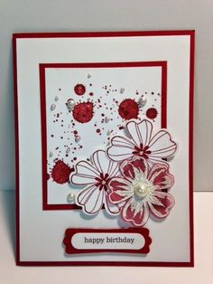 A Flower Shop and Gorgeous Grunge Birthday using cherry cobbler #using #Shop #A Birthday Cards For Women, Handmade Birthday Cards, Happy Birthday Cards, Making Greeting Cards, Greeting Cards Handmade, Stamping Up Cards, Rubber Stamping, Cool Cards, Flower Cards
