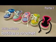 Como tejer zapatitos botitas escarpines para bebé a crochet, ganchillo - VARIOS TALLES (1/2) - YouTube