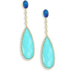 Meira T Diamond, Opal, Turquoise Doublet & 14K Yellow Gold Drop... ($1,636) ❤ liked on Polyvore featuring jewelry, earrings, gold stud earrings, stud earrings, yellow gold diamond earrings, gold post earrings and diamond stud earrings
