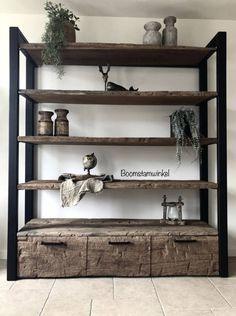 Reclaimed Wood Benches, Rustic Wood, Diy Furniture Plans, Metal Furniture, Bookshelves In Living Room, Industrial Shelving, Old Wood, Diy Bedroom Decor, Home Decor