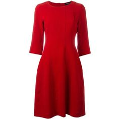 Twin-Set ribbed detailing flared dress ($200) ❤ liked on Polyvore featuring dresses, red, flared dresses, flare dress, red dress, red flare dress and red flared dress