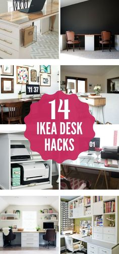 Desks can be so expensive, but these amazing DIY Ikea desk hacks will give you a stylish workspace on a small budget! These Ikea desk ideas are some of the best I have seen. Ikea Hacks, Desk Hacks, Hacks Diy, Ikea Workspace, Ikea Desk, Desk Redo, Diy Desk, Ikea Corner Desk, Ikea Study