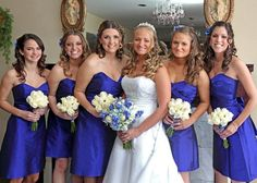 Nichole the flowers bridesmaid white brides with the blue is what I was thinking for u.