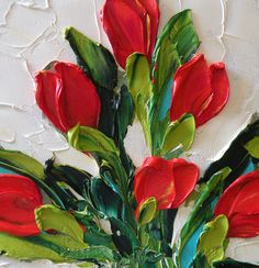 Original Oil Painting Red Tulips Wall Decor by IronsideImpastos