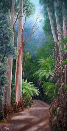 'Road to Paradise' is a painting of the beautiful Otway National Park near Apollo Bay. The light was filtering through the trees and lighting up the tree fern making for an irresistible subject.  It has sold at the Eagles Nest Gallery in Aireys Inlet.
