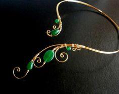 Gold Black Necklace Black Onyx necklace Wire di NataliStudio