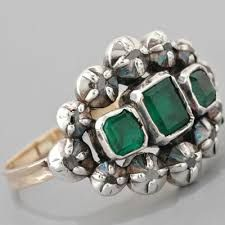 Image result for emerald and diamond flower ring georgian