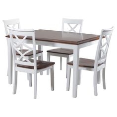 The Charlotte cherry and white 5-piece dining set is a chic dining set that comes with a rectangular table and four chairs. It is made of MDF and Acacia wood veneer in a cherry finish for the table top and chair seats.