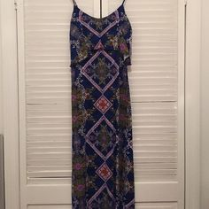 Maxi dress Maxi dress with top ruffle. Fits like a small rather than an xs. Colors look a bit brighter in person, just bad lighting  Dresses Maxi