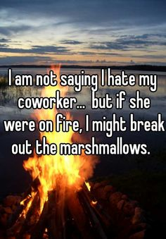 I am not saying I hate my coworker...  but if she were on fire, I might break out the marshmallows.