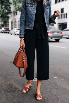 Love this Look ✨ Fashion Jackson Wearing Everlane Black Jumpsuit Denim Jacket Tan Sandals Tan Tote R Mode Outfits, Casual Outfits, Fashion Outfits, Womens Fashion, Casual Attire, Modest Fashion, Sweater Outfits, Fashion Tips, Jumpsuit Denim
