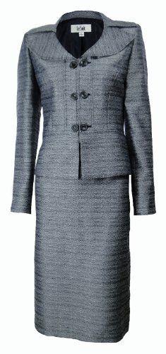5114f30676622 Le Suit Women s Grasslands Tweed Skirt Suit Set Navy White Le Suit