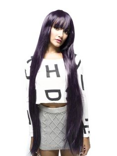 Extra Long Synthetic Straight  Costume Wig - Dark Purple$63.99