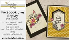 Video, FB Live replay showing how to make Two fabulous Cards using Dressed To Impress , One Fancy Fun Fold, Photo Tiles, Fancy Fold Cards, Black Card, One And Other, Stampin Up Cards, Dress To Impress, Cardmaking, Sassy, Crafty